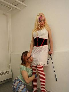 It is a happy couple where sissy hubby is ready to fulfill every command of his superior spouse