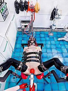 Nurse have to use steel restraints while teasing subgirl with an enema
