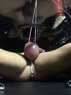Closeup photos of dominatrix using her bare feet to crush balls of a pain-loving slave
