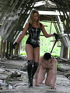 Bitch is walking her fem dom slave at the abandoned construction yard