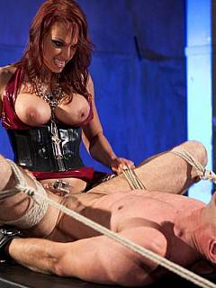 Merciless dominant is teasing male sexually but not letting him to take his cock cage down