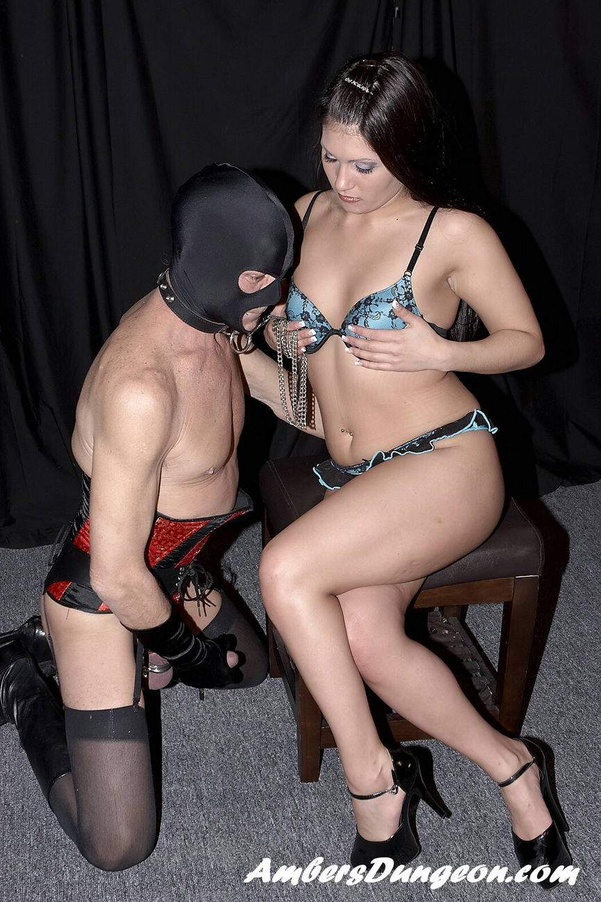 Lesbian slaves fetching panties thrown by mistress 4