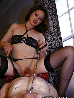 Leashed and collared slave feels his life complete only when licking cunts