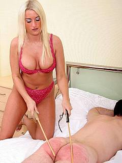 Lazy husband is woken up in the morning and whipped by gorgeous blonde wife