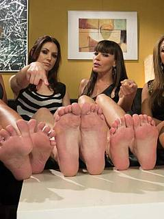 Would you like four world's sexist pornstars to work out your cock with their feet?