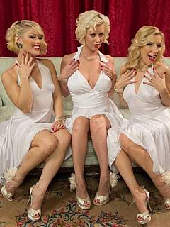 Femdom fantasy about three Marilyns are using their feet on guy's cock and balls