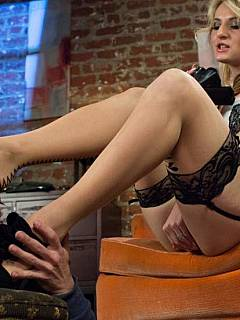 Peeping Tom is involved into the kinky foot fetish action by the beautiful housewife