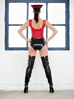 Femdom mistress put a very special latex uniform and is about to punish you with a whipping