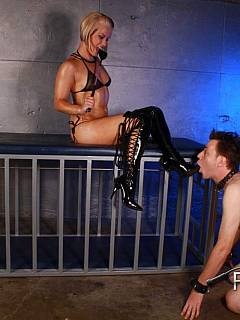 Would you like to be owned by the blonde in bikini and live inside the steel cage?