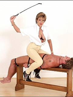 The guy is having lots of fun smelling the MILF who is sitting on top of him in tight pants