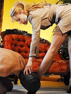 Femdom educational session where masked guy is having his bound toy operated with hands and feet