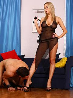 Russian dominant is crushing cock with the spike heels wanting her toes to be polished with slave's mouth