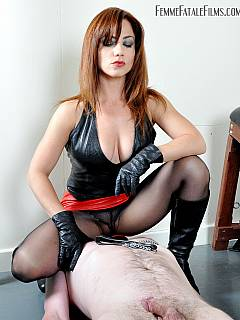 High heel leather boots, foot worship and trampling in one tight mix