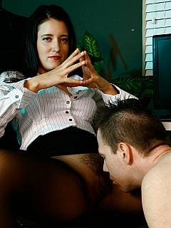 Employee is locked in chastity by bitchy boss for not being productive enough