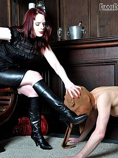 Husband receives an hour of femdom discipline training every evening: stripped down paddled and trampled
