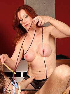 Male sub is about to scream when mistress is going to rip clothespins from his belly with one sudden move