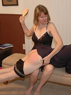 Mature slut punished younger lover with OTK spanking