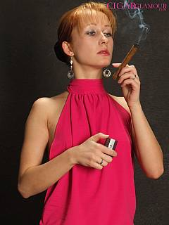 Slim redhead smokes massive sigar