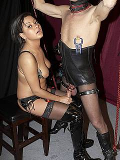 Cruel lady let bound male to penetrate her pussy but denied him to have orgasm