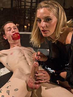 Blonde gagged her male with an apple while exploring his urethra with an electrified steel rod: preparing the guy for painful anal penetration