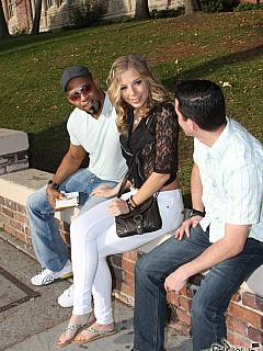 Teen met two black guys on the street: taking them home to fuk in front of her cuckold boyfriend