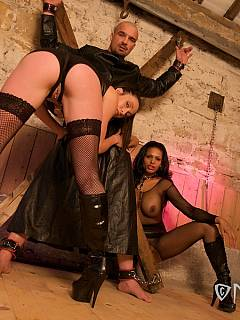 Dominant ladies are having male spread-bound down in the stables: tesing him with no chance to cum
