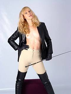 Skinny dominatrix loves riding horses and is using the very same whip to control men