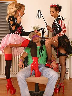 A couple of office girls are turning Halloween party into the sexual torment for the innocent delivery boy