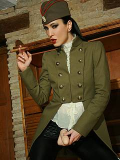 Military lady is going to fuck your ass and smoke a cigar at the very same time