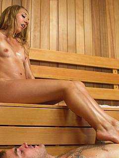 Foot loving male is taken into the hot sauna where he could lick his mistress sweaty feet and enjoy the best footjob ever