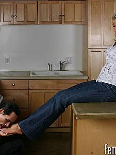 Nothing makes femdom slave happier than the chance to lock his wife's sweaty feet