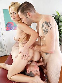 Married couple are both in love with big cocks: sexy blond and her cuckhold husband