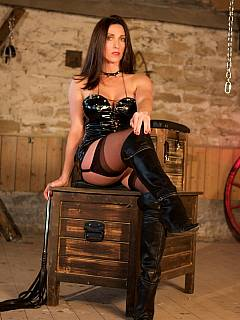 Posh femdom woman is greeting you in her dungeon: she is having a list of torments in her mind for you to suffer pain from