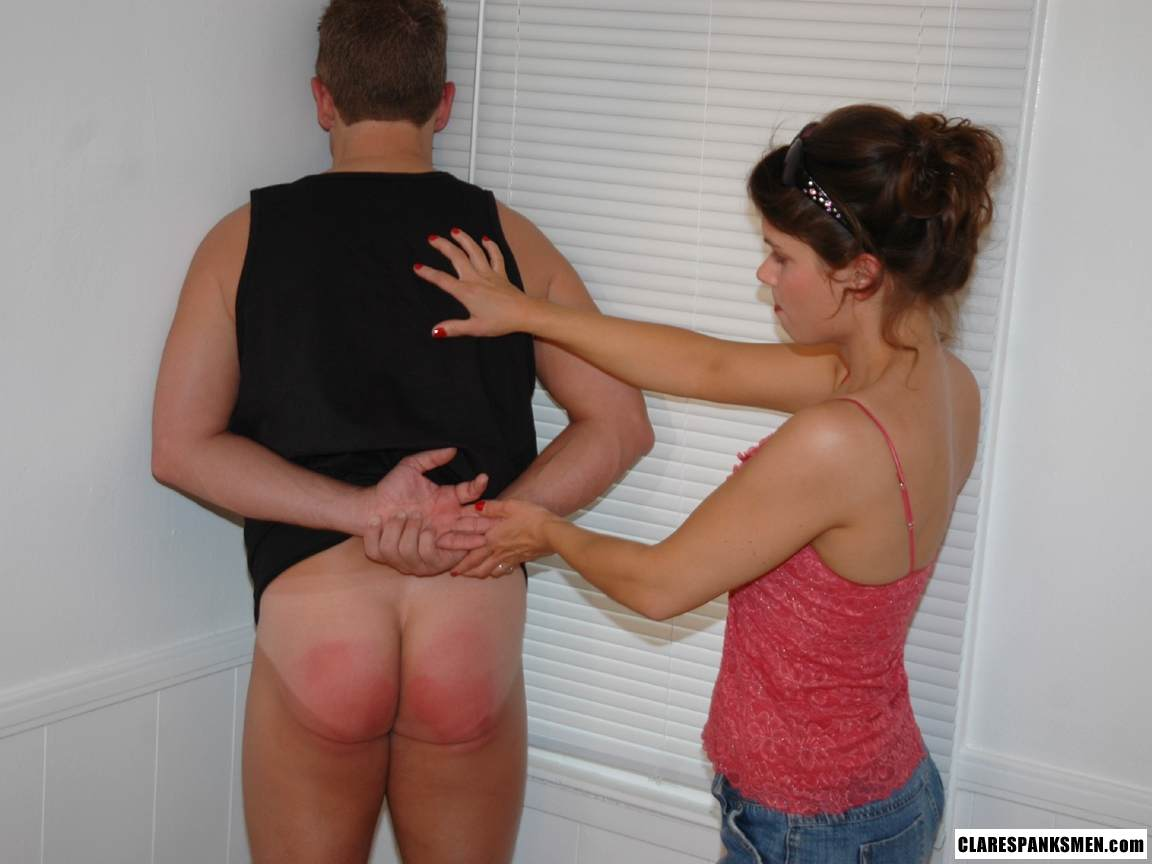Picture #10 of Big guy submits to his wife: bends over the table and exposes his ass for her to paddle