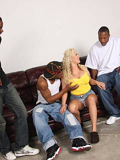Her husband is worthless when it comes to sex: blonde plumper needs three black guys to feel satisfied