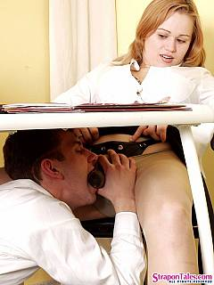 Office couple is sharing the same strapon passion: girl loves to dominate and the guy loves to be fucked in his ass