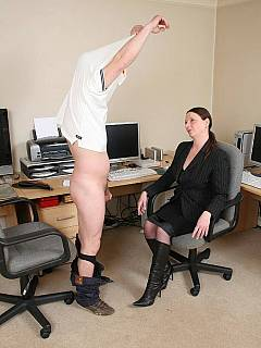Yet another office where men are nude, on their knees and spanked by clothed bitchy-boss