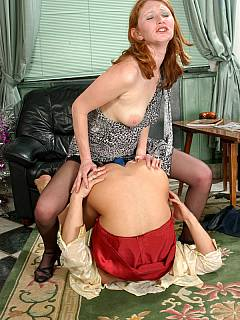 Husband becomes utterly horny when redhead wife shoves plastic cock into his ass