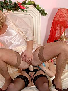 Hot girl knows the right way to deal with the sissy cross-dresser - to bang his ass with strapon toy