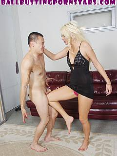 Foot mistress fucked femdom slave, crushed his manhood with her bare feet and is going to bite off his cock