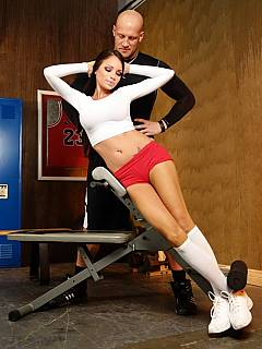 Sporty girl taken her coach into submission letting him to worship her feet in white socks