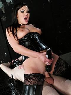 Horny mistress is taking chastity cage off the slave's cock, makes it hard with her hand and then puts herself on top
