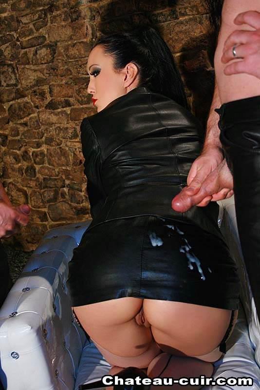 Against cum leather skirt