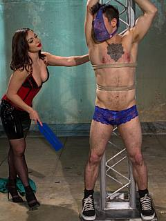 Sissy and his domme: male is trained and humiliated without a chance of getting a key to his cock cage