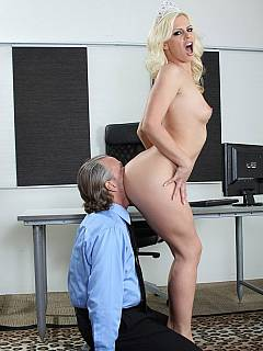 Crowned beauty queen is making office men happy by smothering their faces with her sexy butt