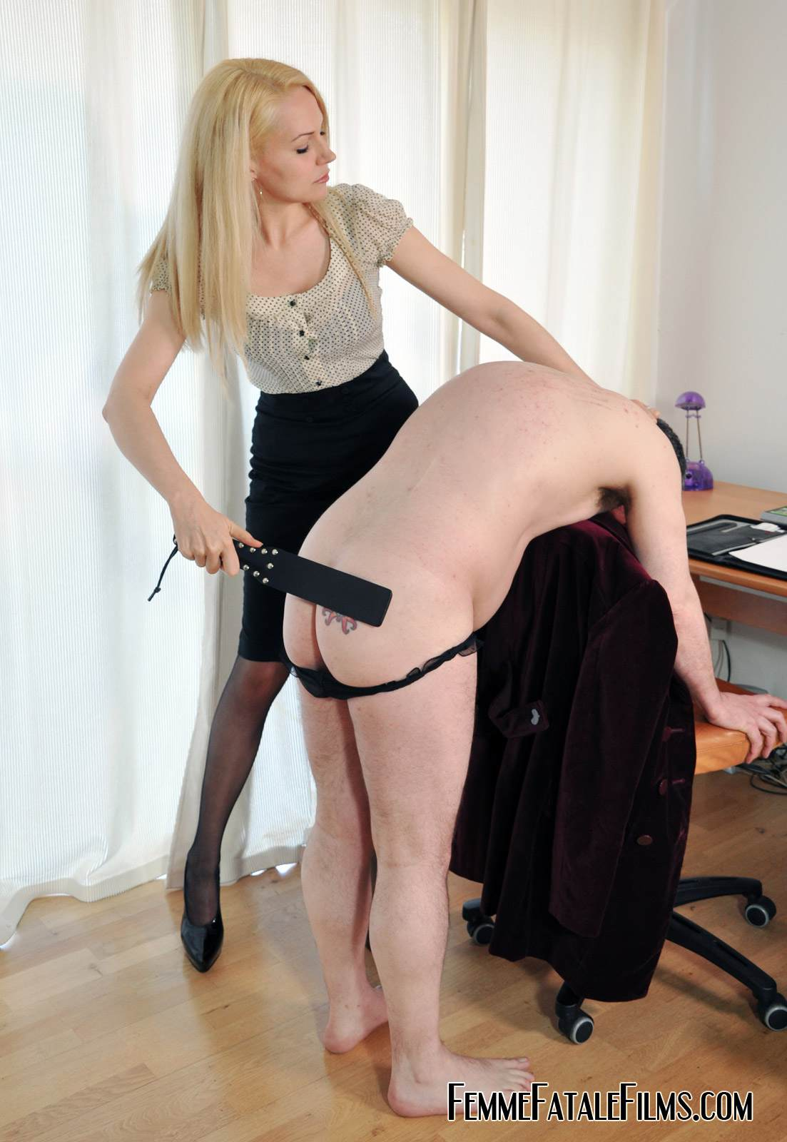 Picture #10 of Job interview ends up well for dominant secretary who spanks her future boss over the knee