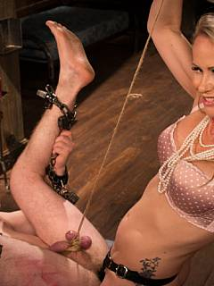MILF bitch is switching roles: she is dominant and her husband has to be spanked and fucked in his ass in bondage