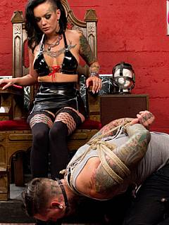 Rope-tied slave has to lick his mistress clean and got paddled before she is going to let him fuck her