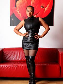 Get ready for dominatrix in tight leather dress and knee-boots to take care of your ass