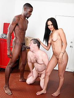 Wife slut wants to fuck and she is using her cuck hubby to sit on and to keep her black lover hard